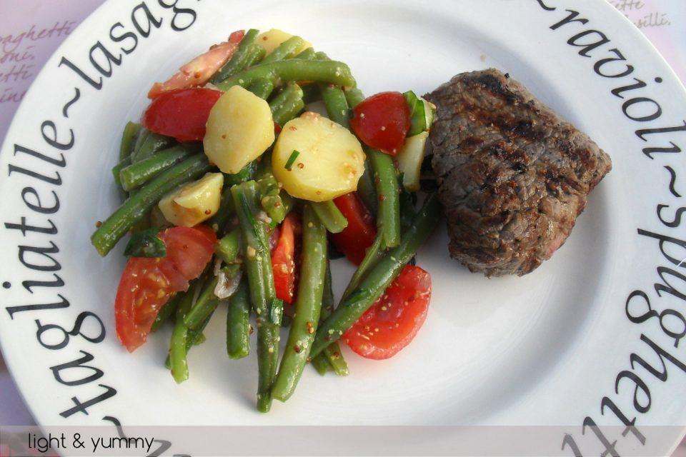 Potato Green Bean and Cherry Tomato Salad, vegetarian recipe, Light & Yummy
