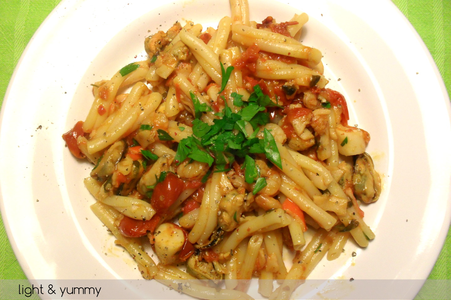 Pasta with frozen seafood, quick recipe - light & yummy
