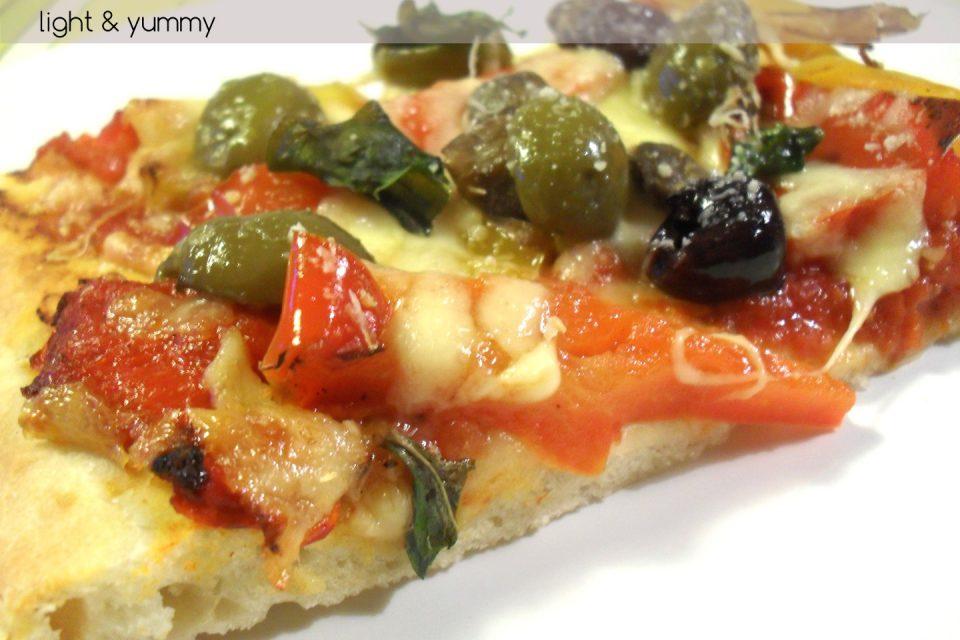 "Easy pizza dough ""no need to knead"", Light & Yummy"
