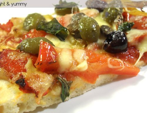 Pizza roasted peppers and olives, light recipe