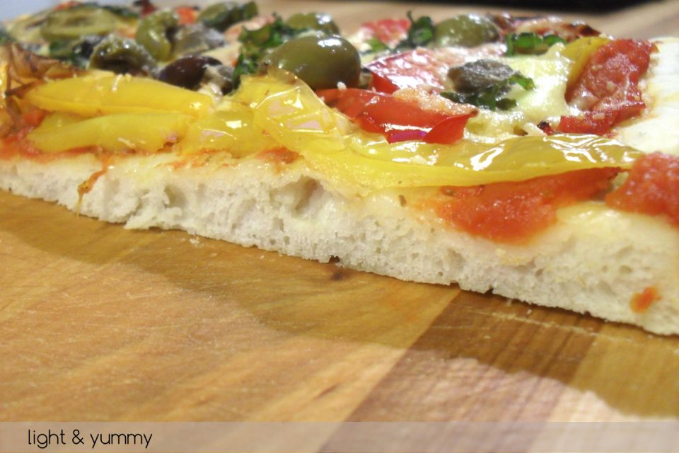 Pizza roasted peppers and olives, light recipe, Light & Yummy