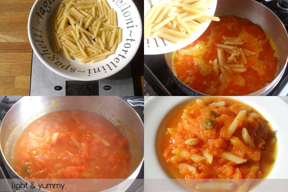 Pasta and pumpkin light, easy recipe, Light & Yummy
