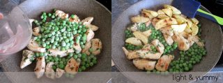 Pan cooked chicken with potatoes and peas, Light & Yummy