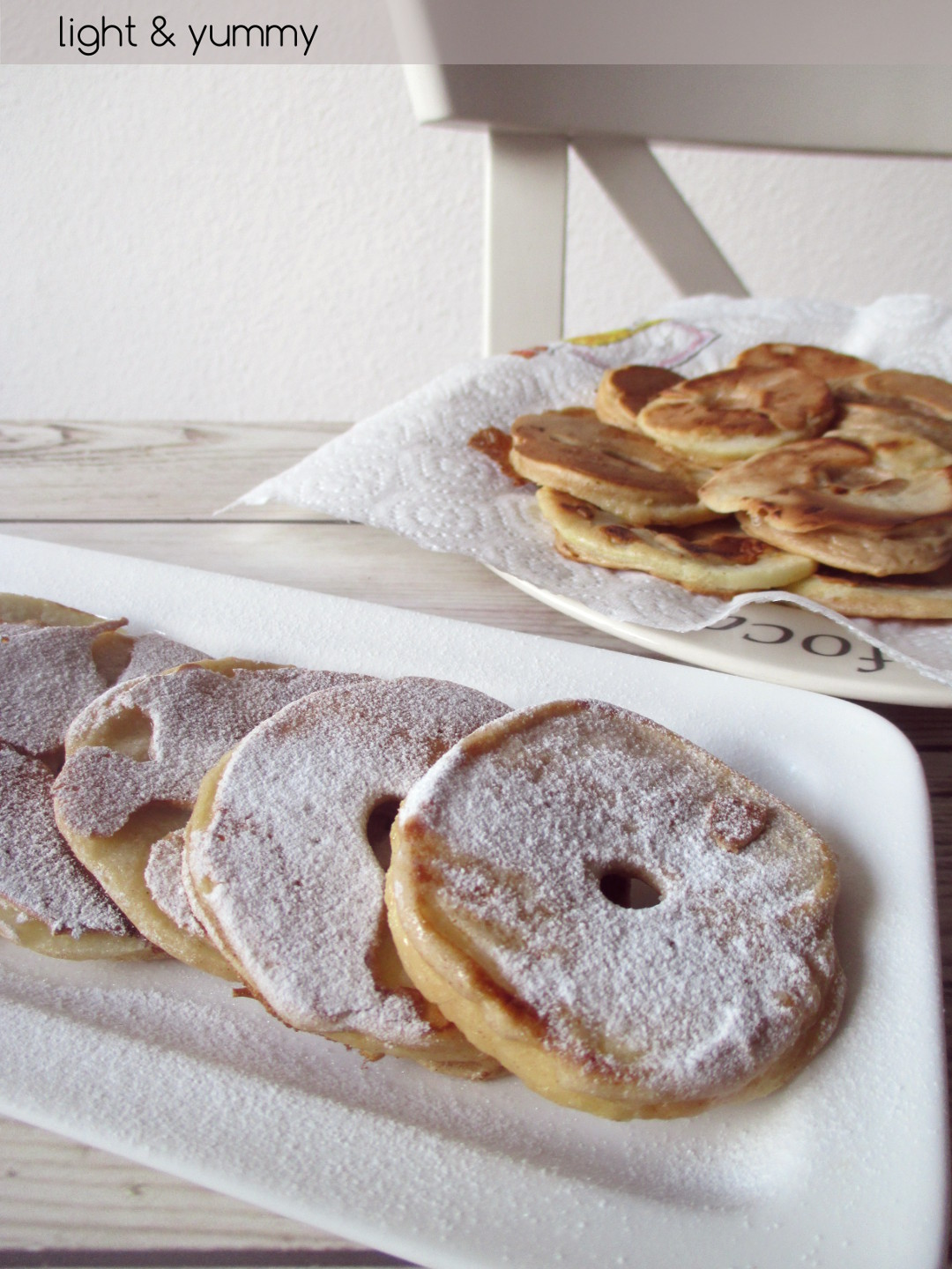 Apple ring fritters, Light & Yummy