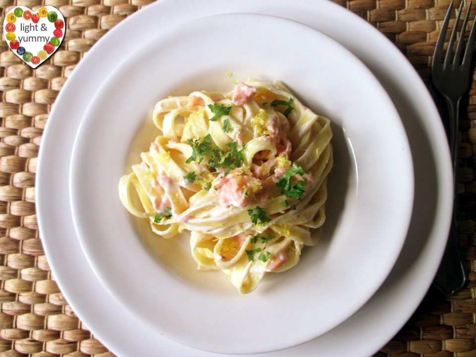 Creamy salmon tagliatelle, Light & Yummy